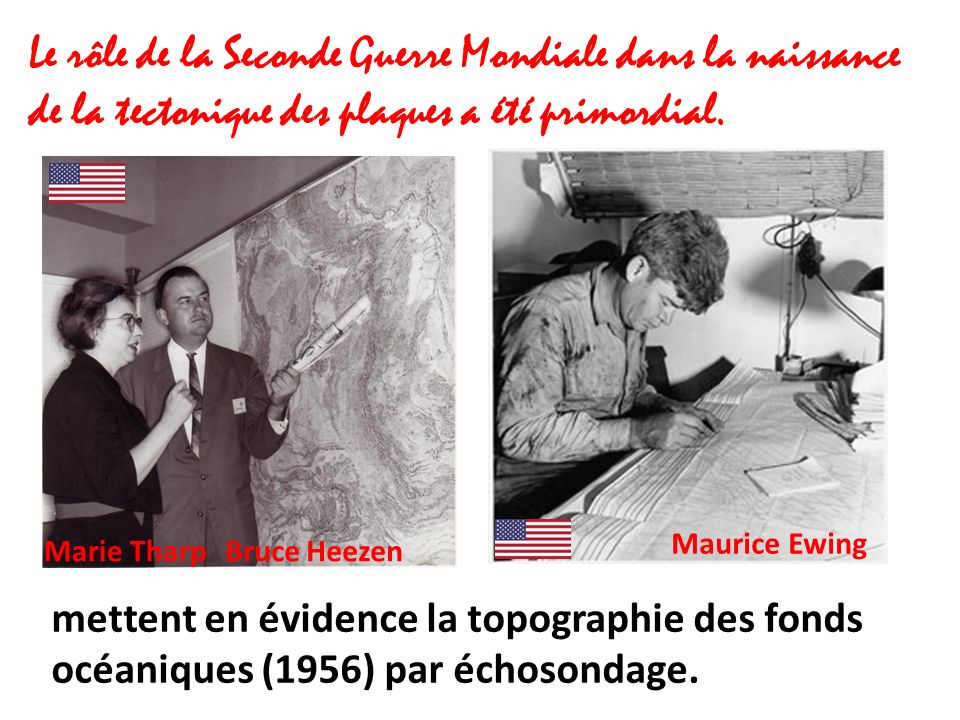 Le rôle de la Seconde Guerre Mondiale dans la naissance de la tectonique des plaques a été primordial. mettent en évidence la topographie des fonds oc