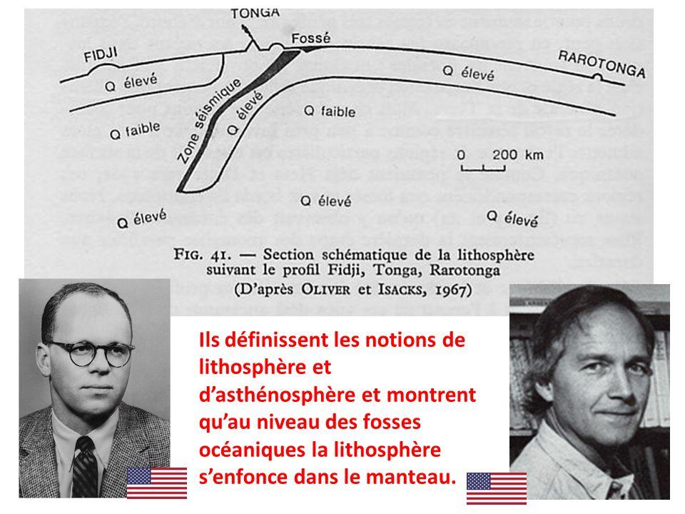 Ils définissent les notions de lithosphère et dasthénosphère et montrent quau niveau des fosses océaniques la lithosphère senfonce dans le manteau.