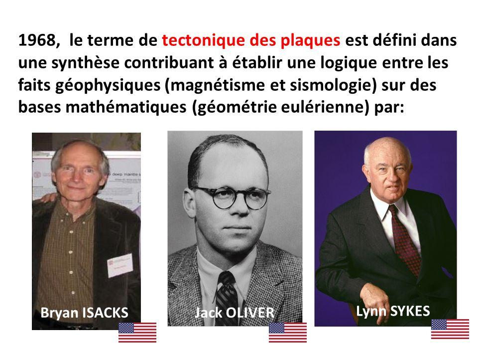 1968, le terme de tectonique des plaques est défini dans une synthèse contribuant à établir une logique entre les faits géophysiques (magnétisme et si