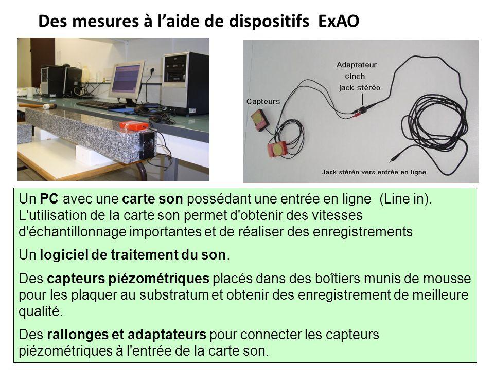 Des mesures à laide de dispositifs ExAO Un PC avec une carte son possédant une entrée en ligne (Line in). L'utilisation de la carte son permet d'obten