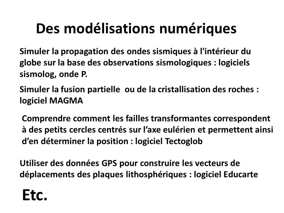 Des modélisations numériques Simuler la propagation des ondes sismiques à l'intérieur du globe sur la base des observations sismologiques : logiciels