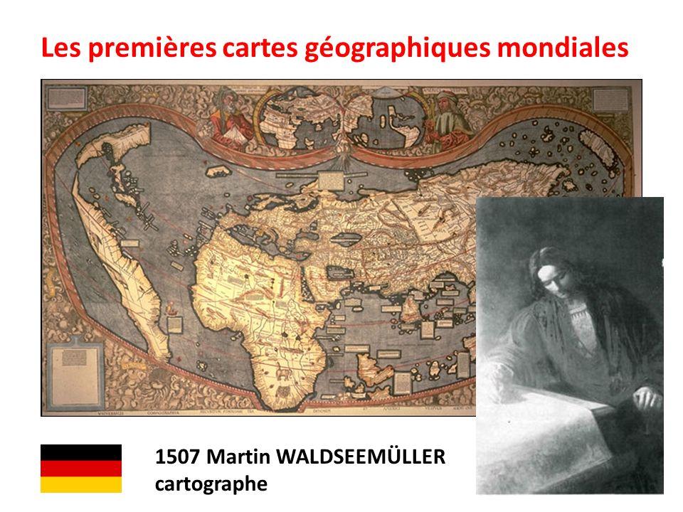 Les premières cartes géographiques mondiales 1507 Martin WALDSEEMÜLLER cartographe