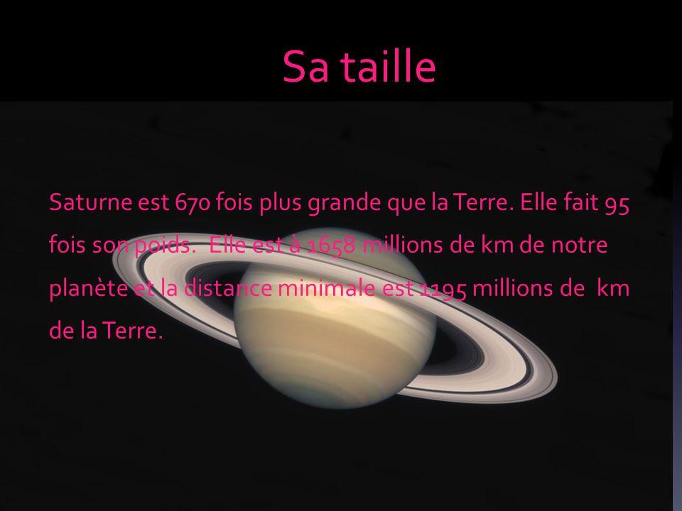 Sa taille Saturne est 670 fois plus grande que la Terre. Elle fait 95 fois son poids. Elle est à 1658 millions de km de notre planète et la distance m