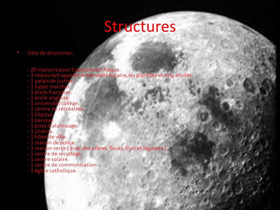 Structures Liste de structures : - 20 maisons pour 5 personnes chaque.