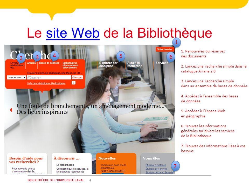 BIBLIOTHÈQUE DE L'UNIVERSITÉ LAVAL 4 Le site Web de la Bibliothèquesite Web 4 3 7 1. Renouvelez ou réservez des documents 2. Lancez une recherche simp