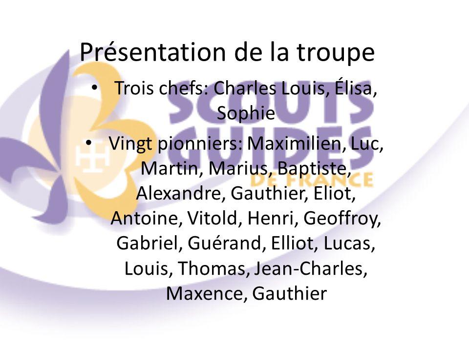 Présentation de la troupe Trois chefs: Charles Louis, Élisa, Sophie Vingt pionniers: Maximilien, Luc, Martin, Marius, Baptiste, Alexandre, Gauthier, E
