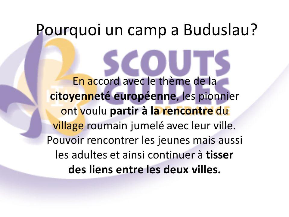 Pourquoi un camp a Buduslau? En accord avec le thème de la citoyenneté européenne, les pionnier ont voulu partir à la rencontre du village roumain jum