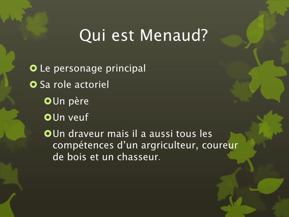 Qui est Menaud? Le personage principal Sa role actoriel Un père Un veuf Un draveur mais il a aussi tous les compétences dun argriculteur, coureur de b