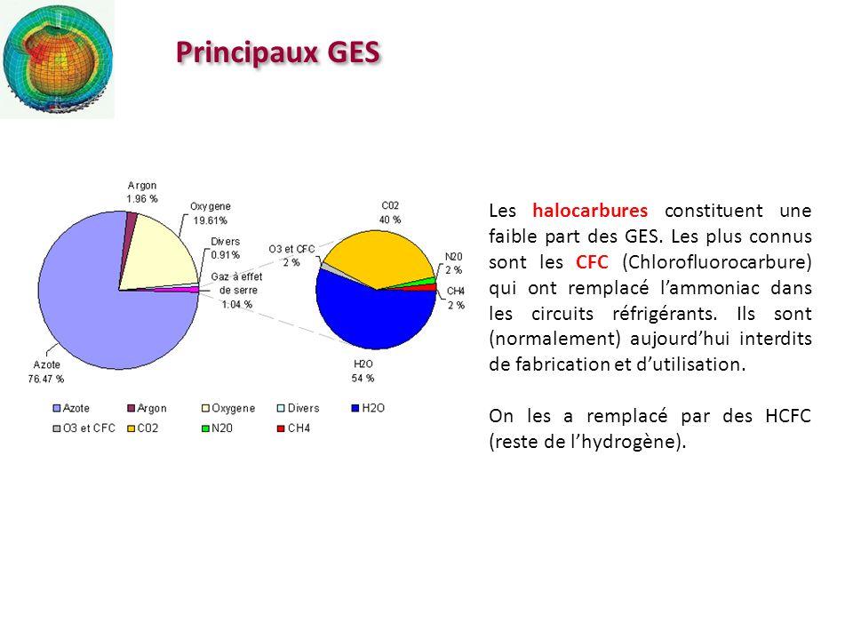 Principaux GES Les halocarbures constituent une faible part des GES. Les plus connus sont les CFC (Chlorofluorocarbure) qui ont remplacé lammoniac dan