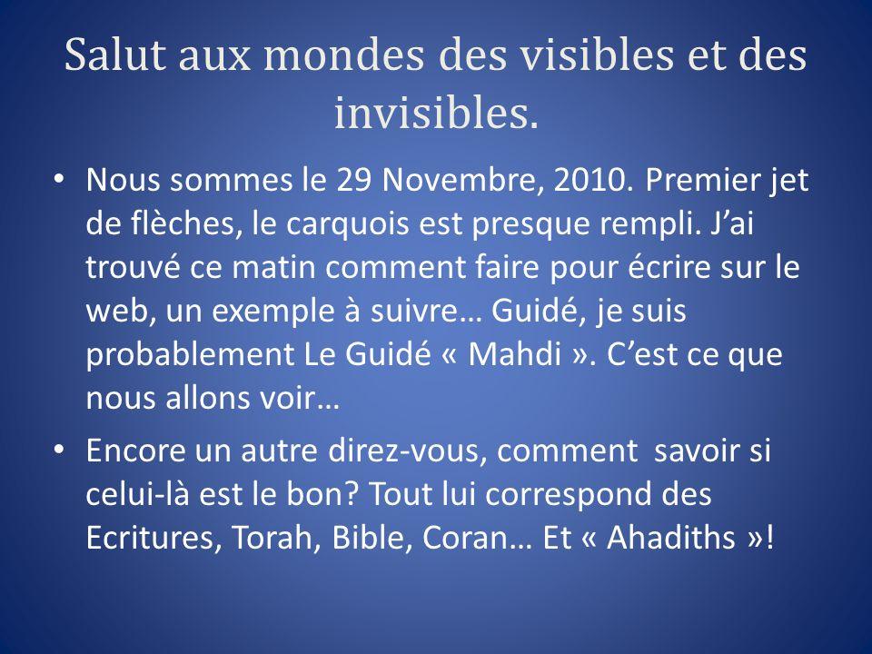 Salut aux mondes des visibles et des invisibles. Nous sommes le 29 Novembre, 2010. Premier jet de flèches, le carquois est presque rempli. Jai trouvé