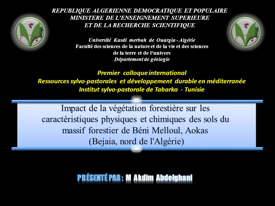 REPUBLIQUE ALGERIENNE DEMOCRATIQUE ET POPULAIRE MINISTERE DE LENSEIGNEMENT SUPERIEURE ET DE LA RECHERCHE SCIENTIFIQUE Université Kasdi merbah de Ouarg