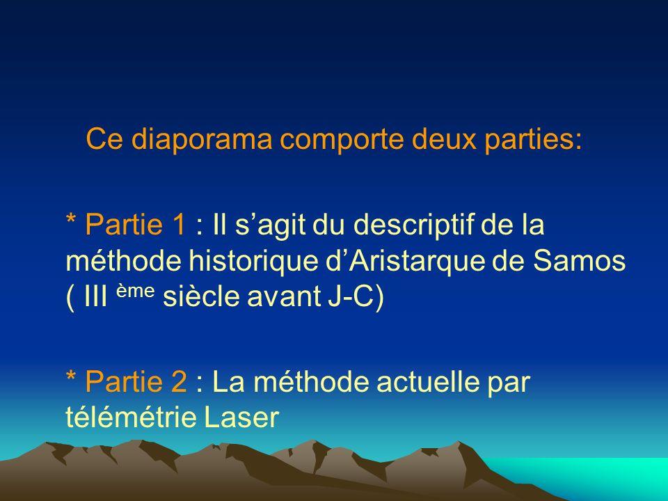 Ce diaporama comporte deux parties: * Partie 1 : Il sagit du descriptif de la méthode historique dAristarque de Samos ( III ème siècle avant J-C) * Partie 2 : La méthode actuelle par télémétrie Laser
