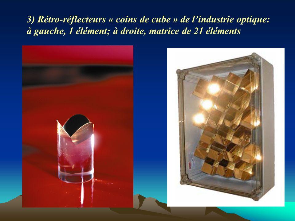 3) Rétro-réflecteurs « coins de cube » de lindustrie optique: à gauche, 1 élément; à droite, matrice de 21 éléments
