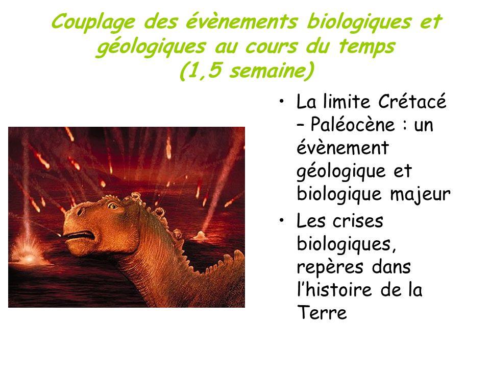 Couplage des évènements biologiques et géologiques au cours du temps (1,5 semaine) La limite Crétacé – Paléocène : un évènement géologique et biologiq