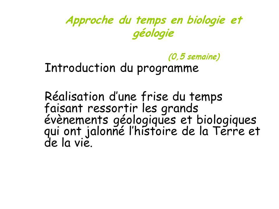 Approche du temps en biologie et géologie (0,5 semaine) Introduction du programme Réalisation dune frise du temps faisant ressortir les grands évèneme