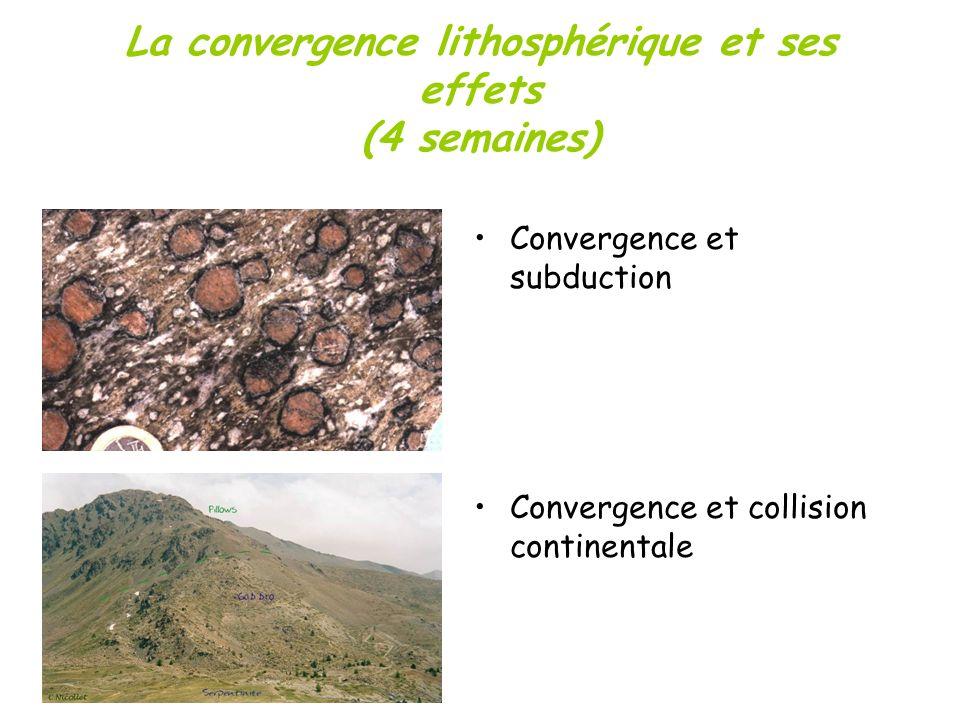 La convergence lithosphérique et ses effets (4 semaines) Convergence et subduction Convergence et collision continentale