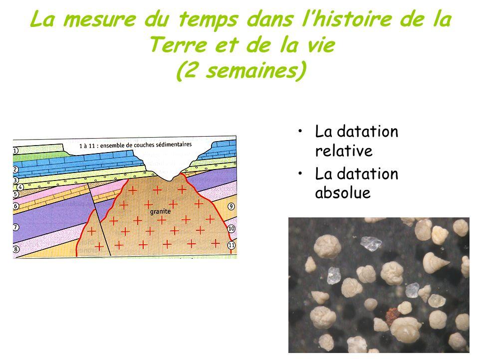 La mesure du temps dans lhistoire de la Terre et de la vie (2 semaines) La datation relative La datation absolue