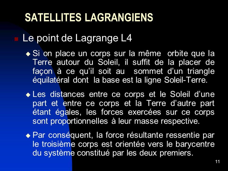 11 SATELLITES LAGRANGIENS Le point de Lagrange L4 Si on place un corps sur la même orbite que la Terre autour du Soleil, il suffit de la placer de façon à ce quil soit au sommet dun triangle équilatéral dont la base est la ligne Soleil-Terre.