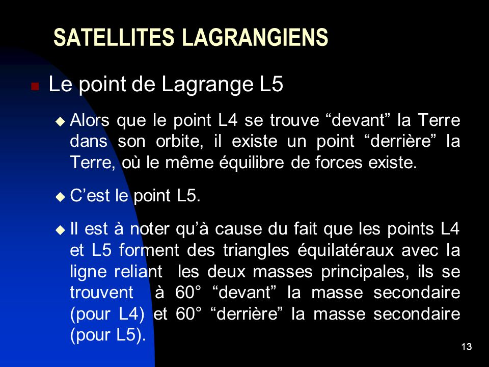 13 SATELLITES LAGRANGIENS Le point de Lagrange L5 Alors que le point L4 se trouve devant la Terre dans son orbite, il existe un point derrière la Terre, où le même équilibre de forces existe.