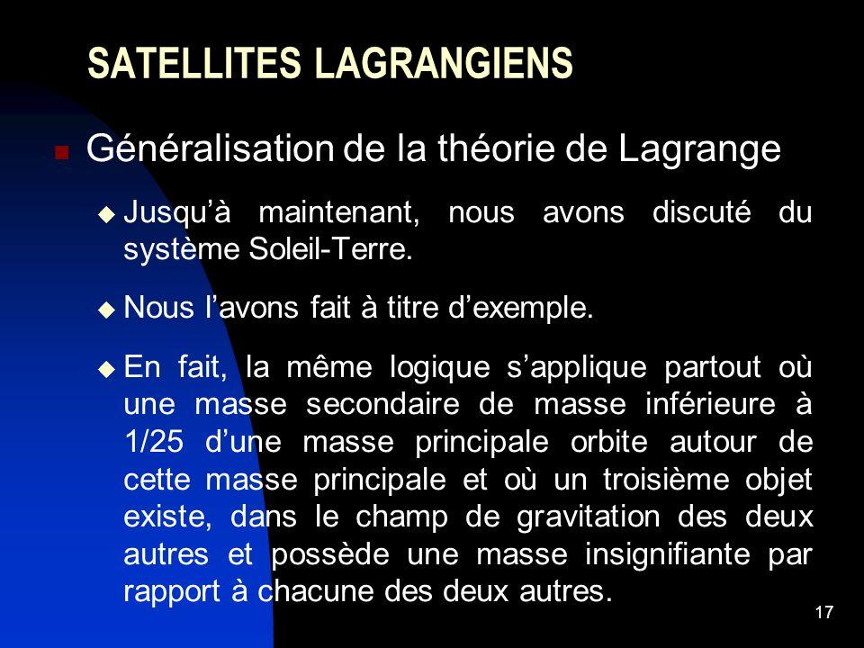 17 SATELLITES LAGRANGIENS Généralisation de la théorie de Lagrange Jusquà maintenant, nous avons discuté du système Soleil-Terre. Nous lavons fait à t