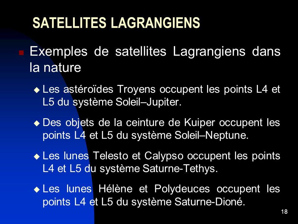 18 SATELLITES LAGRANGIENS Exemples de satellites Lagrangiens dans la nature Les astéroïdes Troyens occupent les points L4 et L5 du système Soleil–Jupiter.