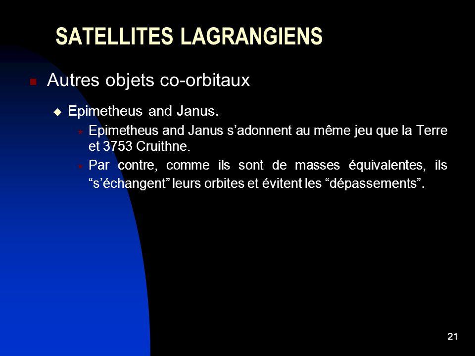 21 SATELLITES LAGRANGIENS Autres objets co-orbitaux Epimetheus and Janus. Epimetheus and Janus sadonnent au même jeu que la Terre et 3753 Cruithne. Pa