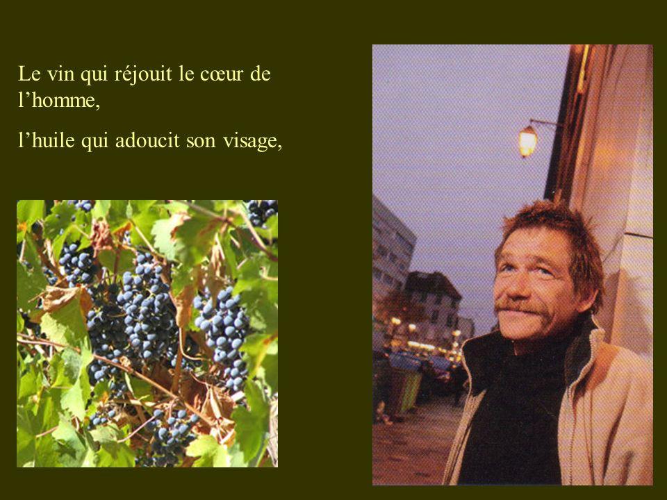 Le vin qui réjouit le cœur de lhomme, lhuile qui adoucit son visage,