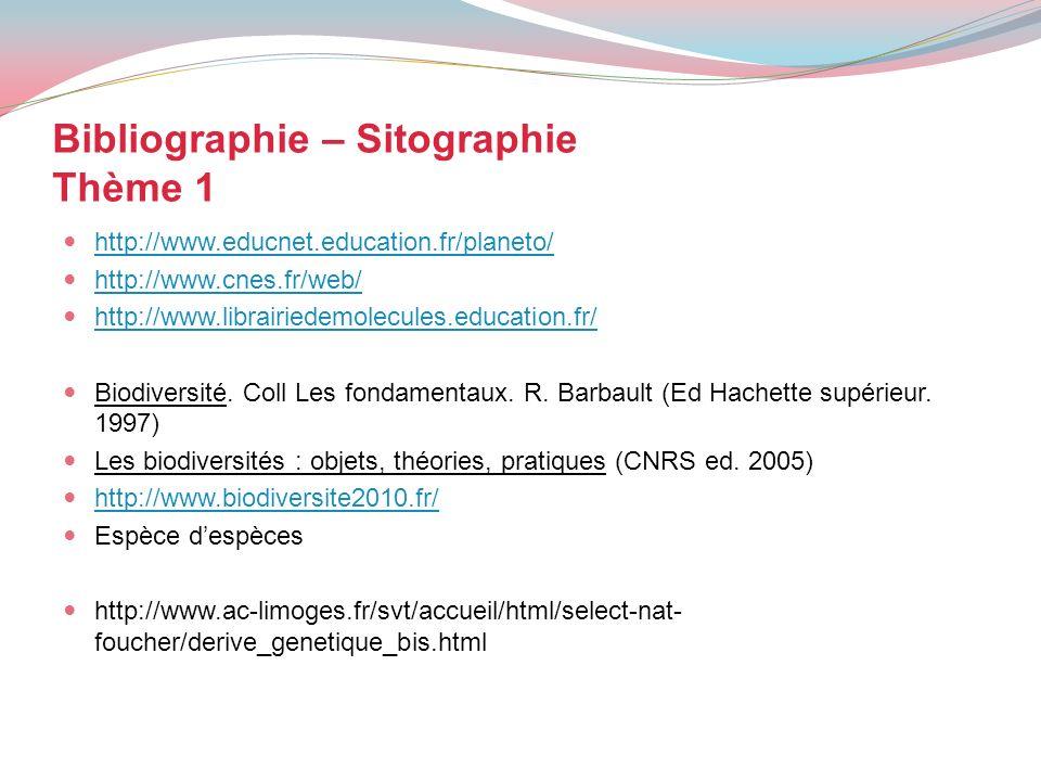 Bibliographie – Sitographie Thème 1 http://www.educnet.education.fr/planeto/ http://www.cnes.fr/web/ http://www.librairiedemolecules.education.fr/ Bio