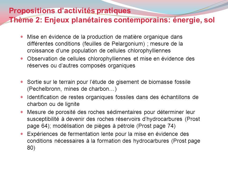 Propositions dactivités pratiques Thème 2: Enjeux planétaires contemporains: énergie, sol Mise en évidence de la production de matière organique dans