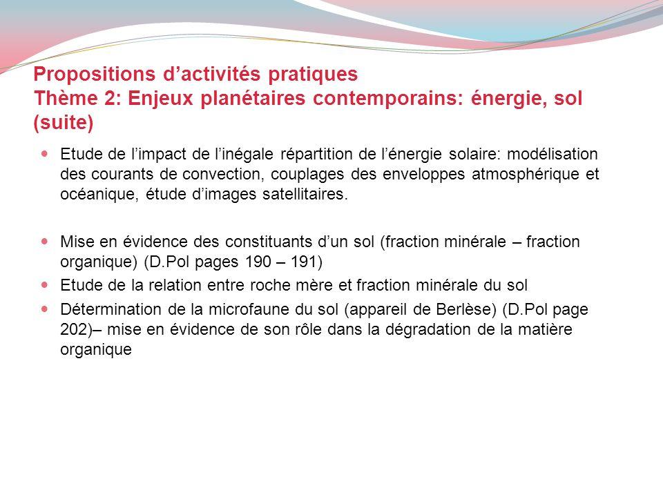 Propositions dactivités pratiques Thème 2: Enjeux planétaires contemporains: énergie, sol (suite) Etude de limpact de linégale répartition de lénergie