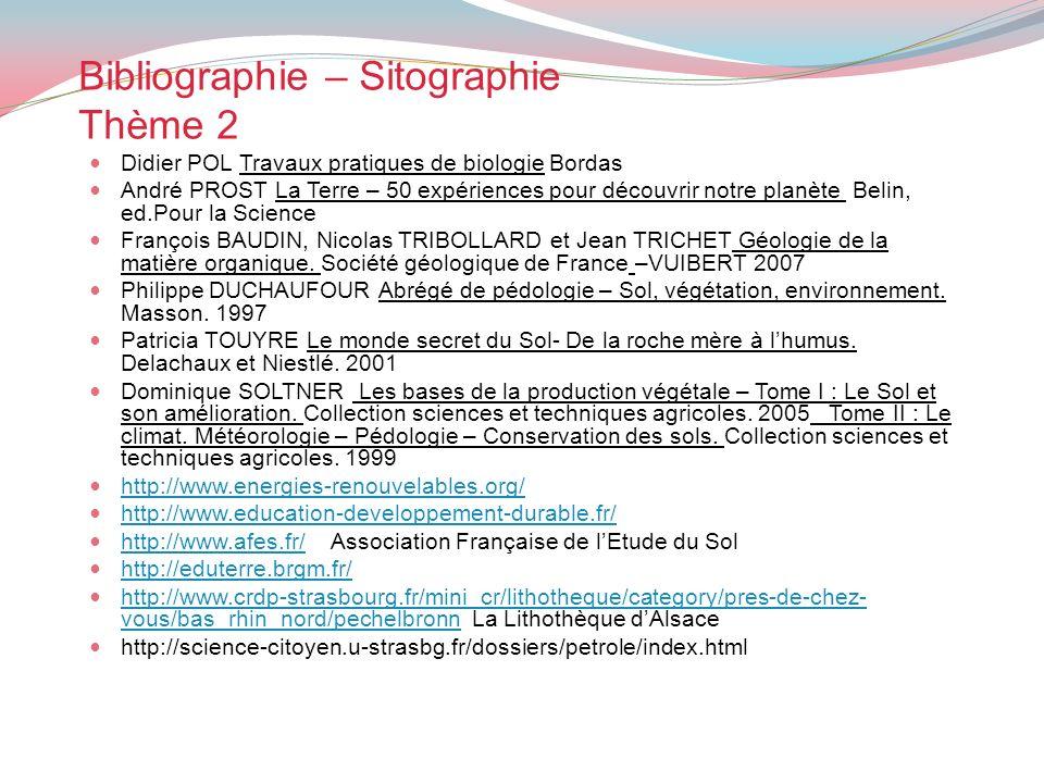Bibliographie – Sitographie Thème 2 Didier POL Travaux pratiques de biologie Bordas André PROST La Terre – 50 expériences pour découvrir notre planète