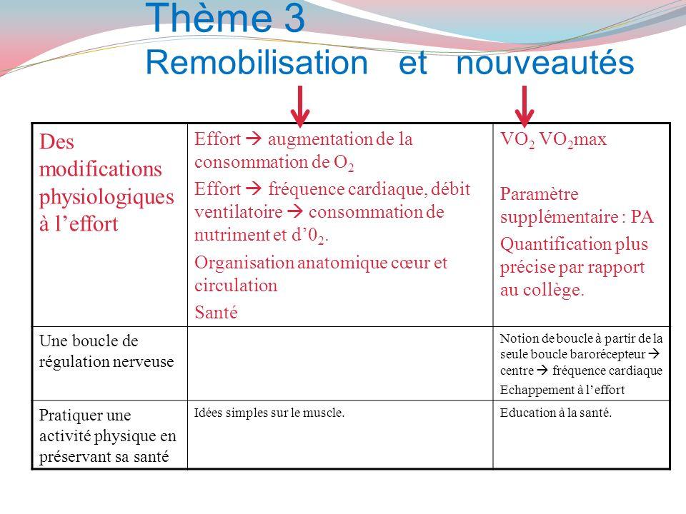 Thème 3 Remobilisation et nouveautés Des modifications physiologiques à leffort Effort augmentation de la consommation de O 2 Effort fréquence cardiaq