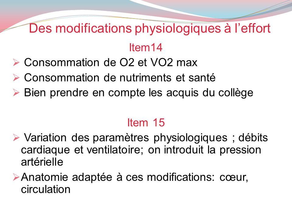 Des modifications physiologiques à leffort Item14 Consommation de O2 et VO2 max Consommation de nutriments et santé Bien prendre en compte les acquis