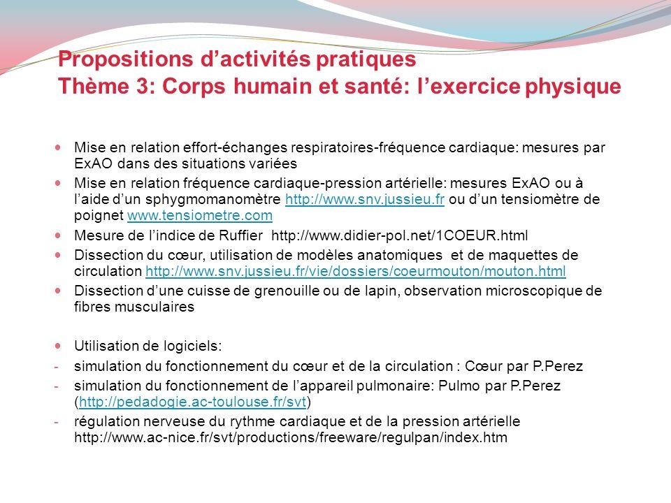 Propositions dactivités pratiques Thème 3: Corps humain et santé: lexercice physique Mise en relation effort-échanges respiratoires-fréquence cardiaqu