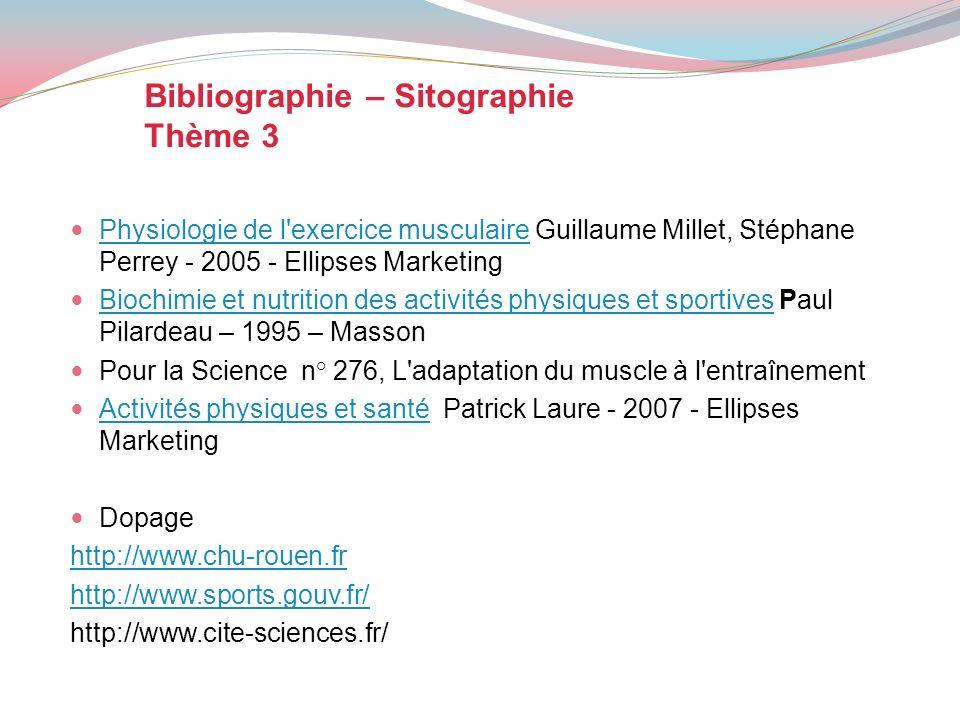 Bibliographie – Sitographie Thème 3 Physiologie de l'exercice musculaire Guillaume Millet, Stéphane Perrey - 2005 - Ellipses Marketing Physiologie de