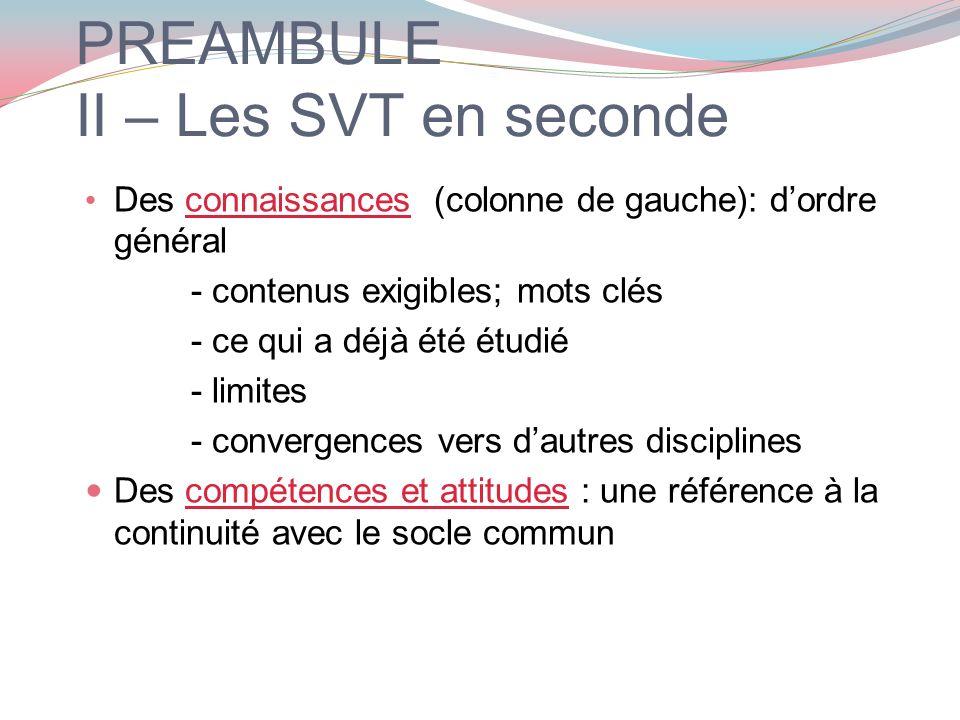 PREAMBULE II – Les SVT en seconde Des connaissances (colonne de gauche): dordre général - contenus exigibles; mots clés - ce qui a déjà été étudié - l