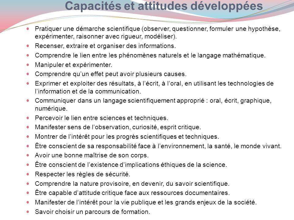 Capacités et attitudes développées Pratiquer une démarche scientifique (observer, questionner, formuler une hypothèse, expérimenter, raisonner avec ri