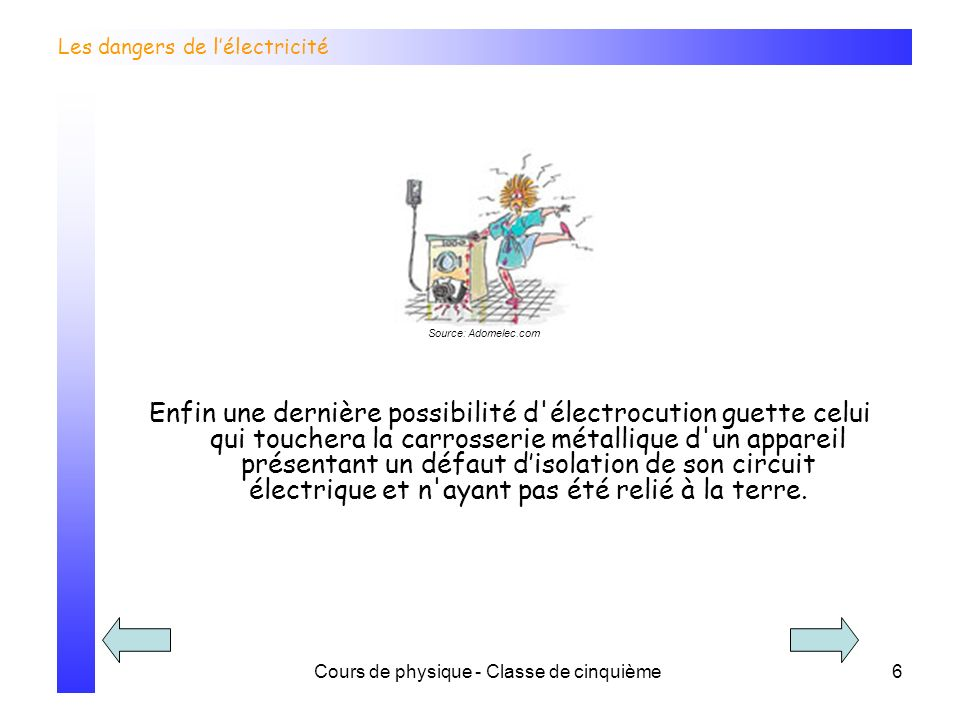 Cours de physique - Classe de cinquième6 Les dangers de lélectricité Source: Adomelec.com Enfin une dernière possibilité d'électrocution guette celui