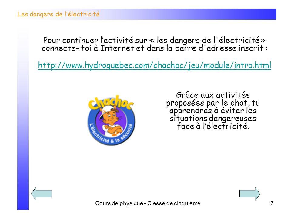 Cours de physique - Classe de cinquième7 Les dangers de lélectricité Grâce aux activités proposées par le chat, tu apprendras à éviter les situations