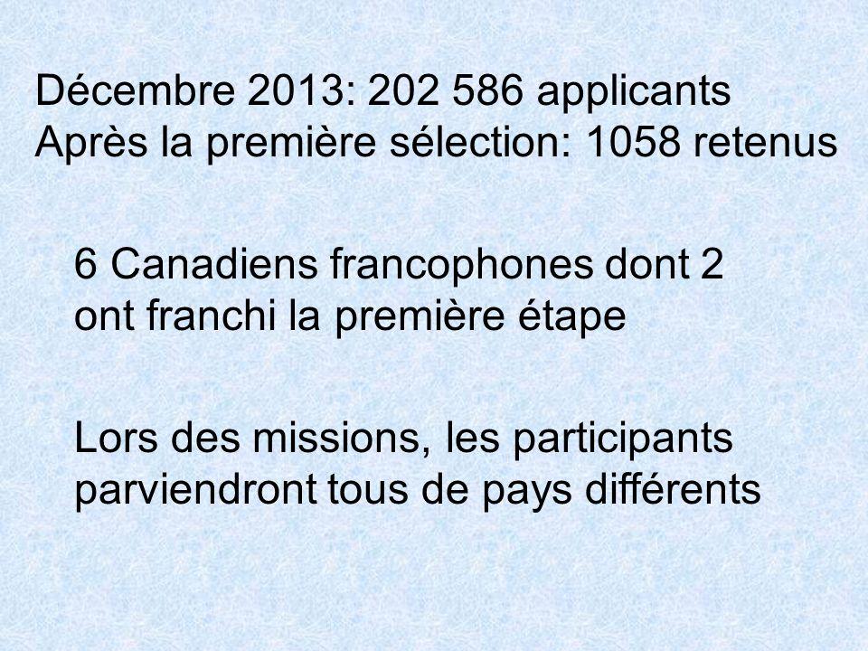 Décembre 2013: 202 586 applicants Après la première sélection: 1058 retenus 6 Canadiens francophones dont 2 ont franchi la première étape Lors des mis
