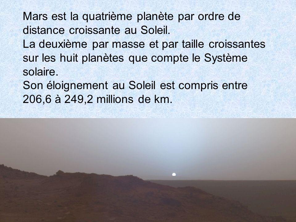 Mars est la quatrième planète par ordre de distance croissante au Soleil. La deuxième par masse et par taille croissantes sur les huit planètes que co