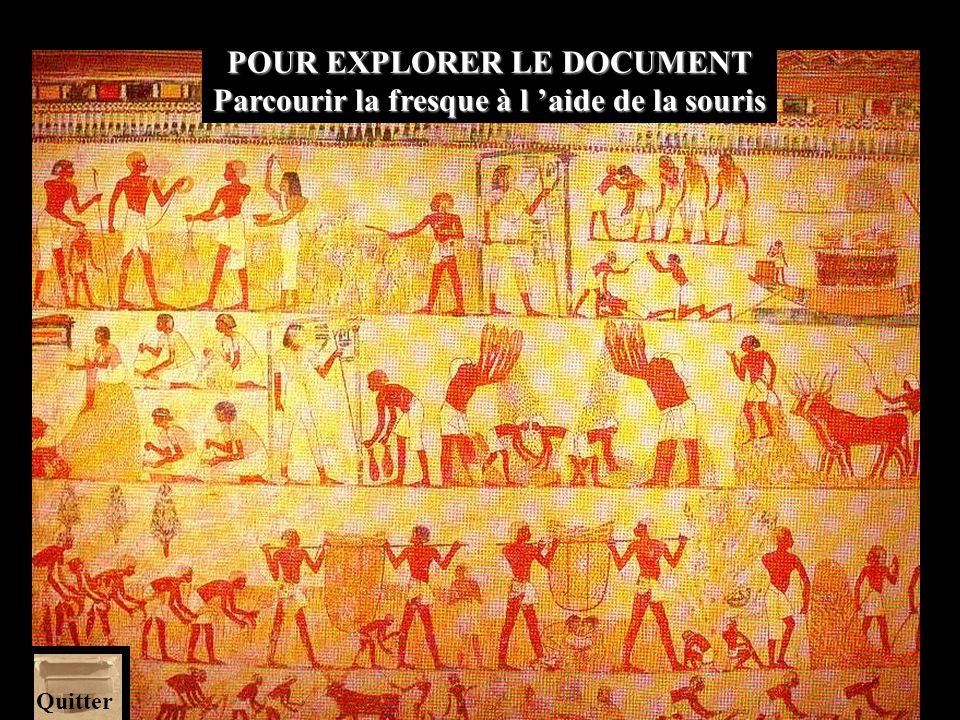 L A LECTURE DU DOCUMENT Les scènes de cette peinture murale se lisent successivement registre par registre en commençant par le bas...
