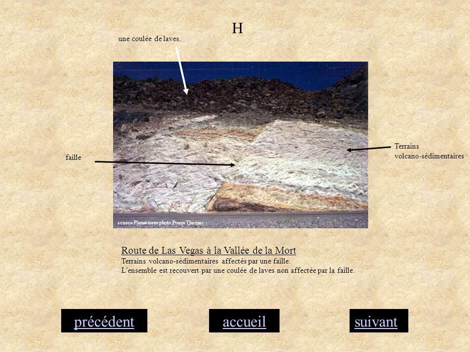 accueilsuivantprécédent H Route de Las Vegas à la Vallée de la Mort Terrains volcano-sédimentaires affectés par une faille. L'ensemble est recouvert p
