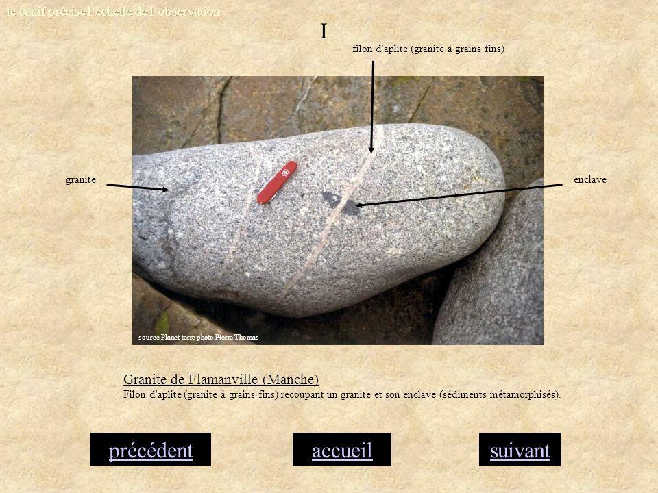accueilsuivantprécédent I Granite de Flamanville (Manche) Filon d'aplite (granite à grains fins) recoupant un granite et son enclave (sédiments métamo