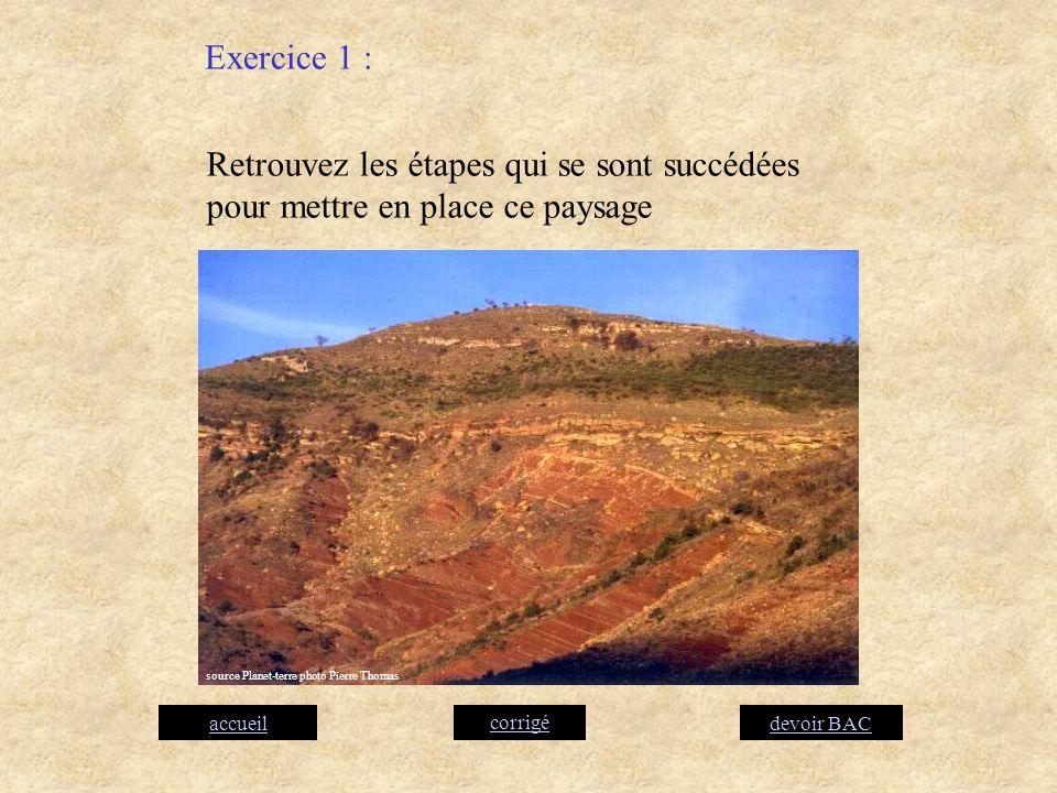 Retrouvez les étapes qui se sont succédées pour mettre en place ce paysage Exercice 1 : corrigé accueildevoir BAC source Planet-terre photo Pierre Tho
