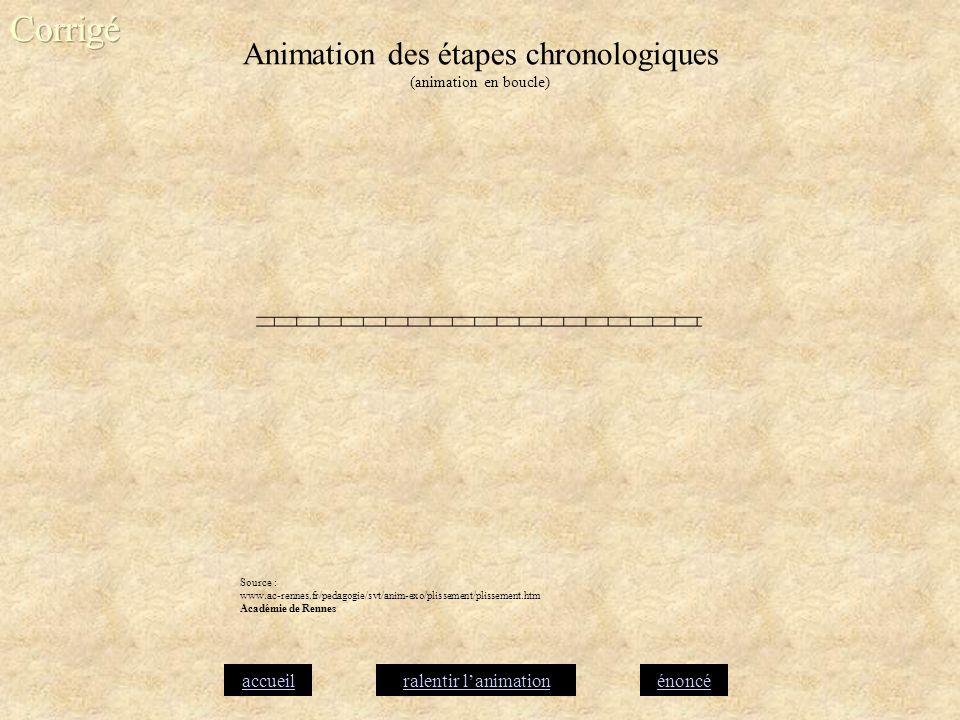 Animation des étapes chronologiques (animation en boucle) accueilénoncéralentir lanimation Source : www.ac-rennes.fr/pedagogie/svt/anim-exo/plissement