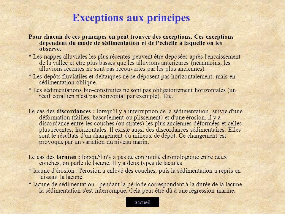Exceptions aux principes Pour chacun de ces principes on peut trouver des exceptions. Ces exceptions dépendent du mode de sédimentation et de l'échell