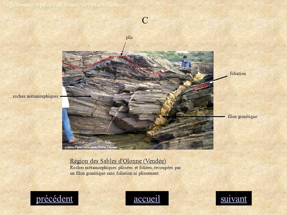 accueilsuivantprécédent C Région des Sables d'Olonne (Vendée) Roches métamorphiques plissées et foliées, recoupées par un filon granitique sans foliat