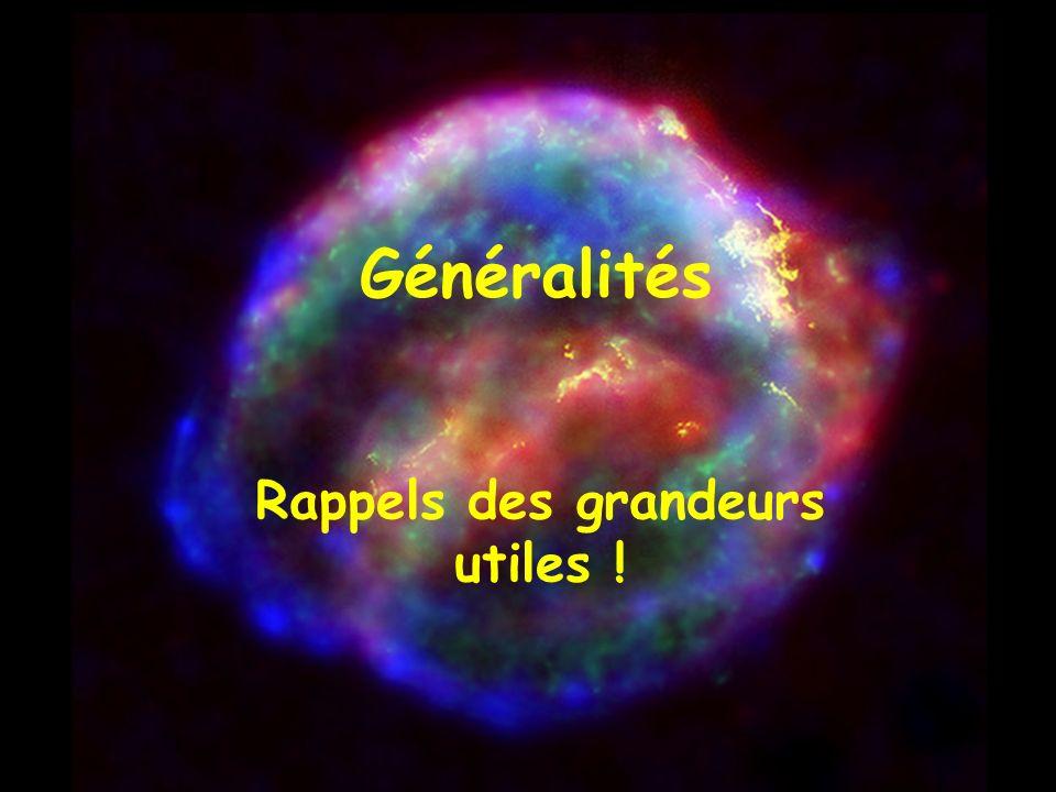 Généralités Rappels des grandeurs utiles !