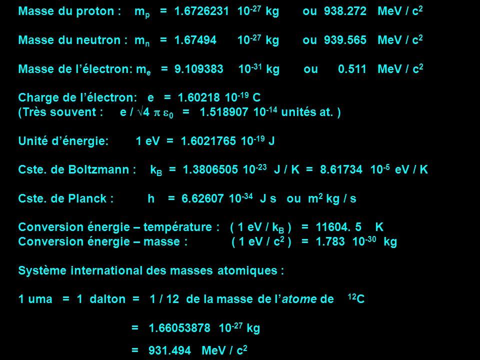 Masse du proton : m p = 1.6726231 10 -27 kg ou 938.272 MeV / c 2 Masse du neutron : m n = 1.67494 10 -27 kg ou 939.565 MeV / c 2 Masse de lélectron: m